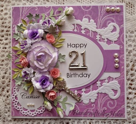 Handmade 21 Birthday Card - handcrafted by helen 21st birthday card