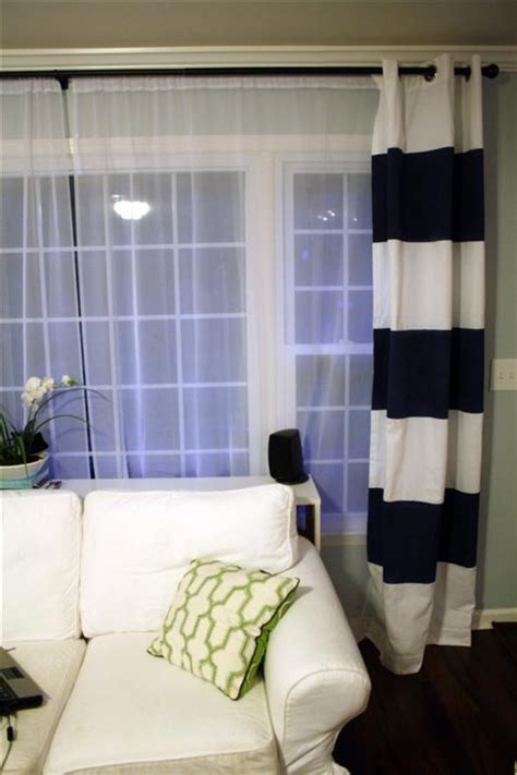 diy striped curtains striped curtain tutorial using paint also love the navy