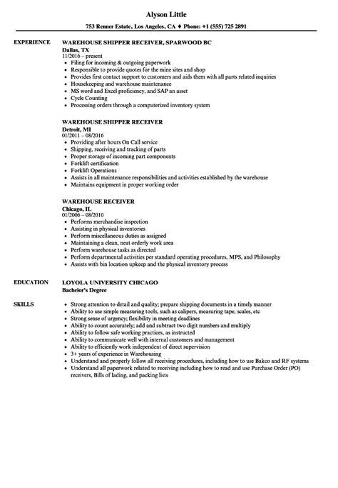 shipping and receiving resume sle gidiye