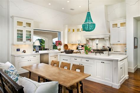 Beachy Chandeliers Open Concept Kitchen Cottage Kitchen Romair Homes