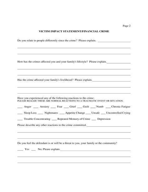 victim impact statement sle form free download