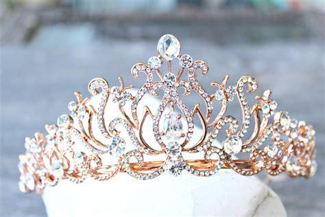 rose tiara bridal tiara crystal rose gold tiara caroline swarovski