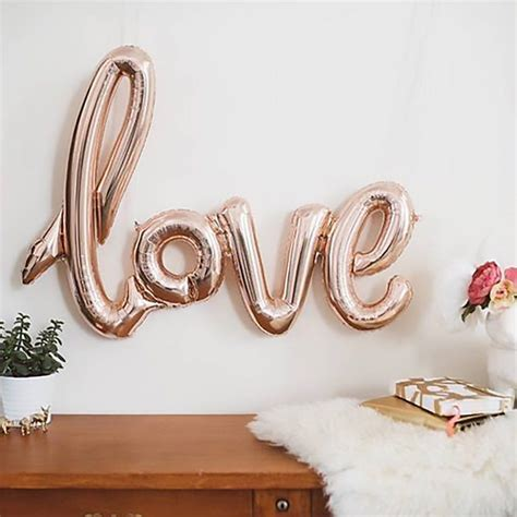 gold love themes love script rose gold balloon by team hen