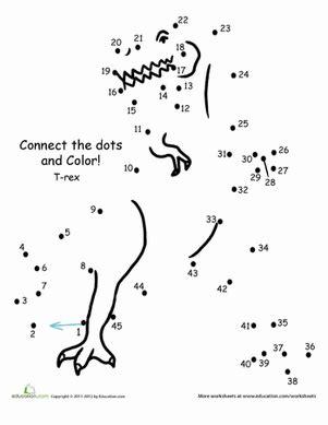 connect the dots: t rex | worksheet | education.com