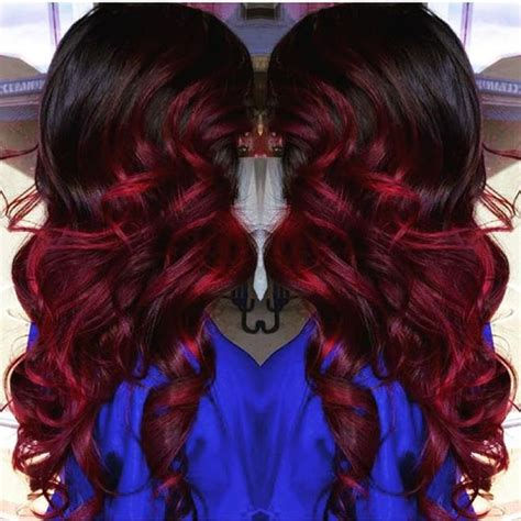 bright hair color for curly hair brunette hair with bright red highlights long curly
