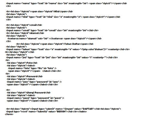 script html membuat form pendaftaran kambing betina com membuat form pendaftaran online dengan