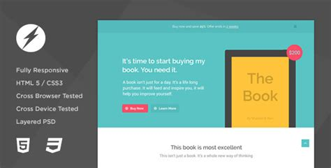 ebook landing page template thebook app ebook html5 css3 landing page by