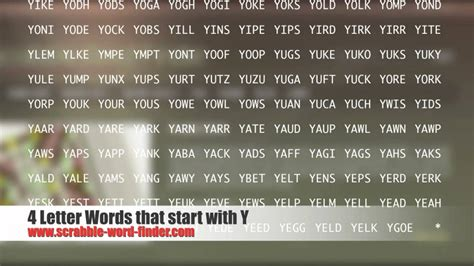 scrabble words starting with y 4 letter words that start with y
