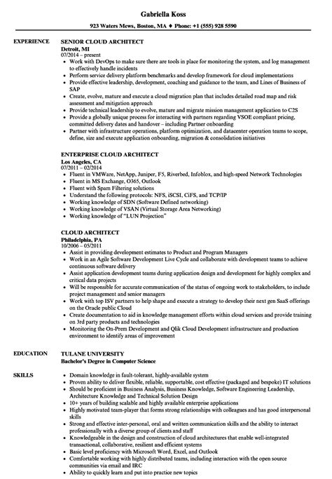 Aws Mba Internship by Cloud Architect Resume Sles Velvet