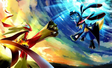 wallpaper 4k pokemon pokemon blaziken vs lucario battle 4k wallpaper gamephd
