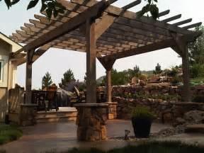 Pergola Base rough sawn timber pergola stone veneer post bases