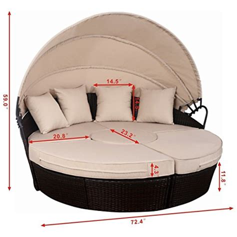 round sofa cushions tangkula outdoor patio round daybed with canopy wicker