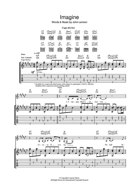 free printable sheet music for imagine by john lennon piano piano tabs imagine john lennon piano tabs or piano