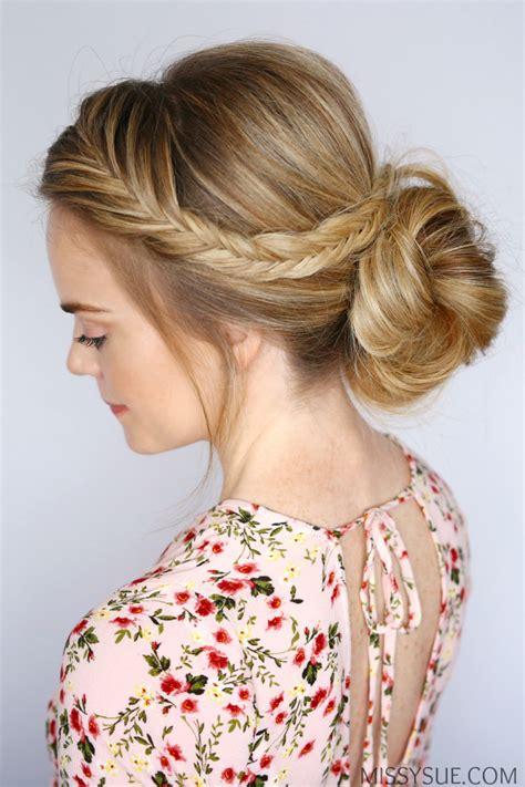 Bun Braids Hairstyles by Fishtail Braid Low Bun Sue