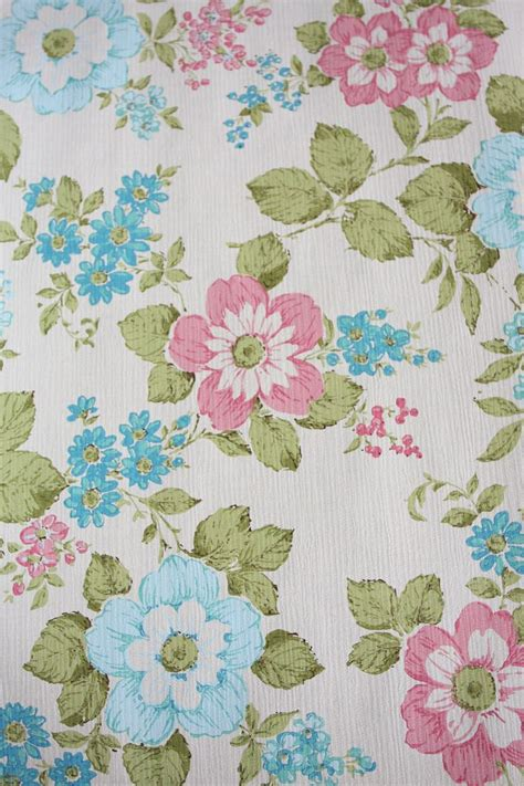 vintage wallpaper roll no 11 shabby chic flowers