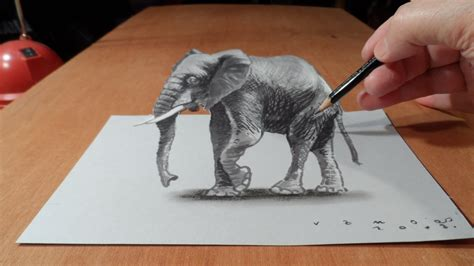 S Drawing 3d by Trick How To Draw 3d Elephant Time Lapse