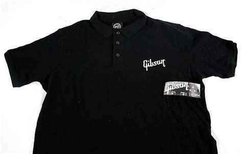 Gibson Usa Logo Black T Shirt gibson usa official embroidered logo knit polo shirt black