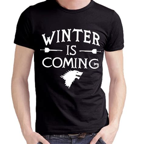 hip hop shirt printed of thrones winter is coming t shirts casual mens tops