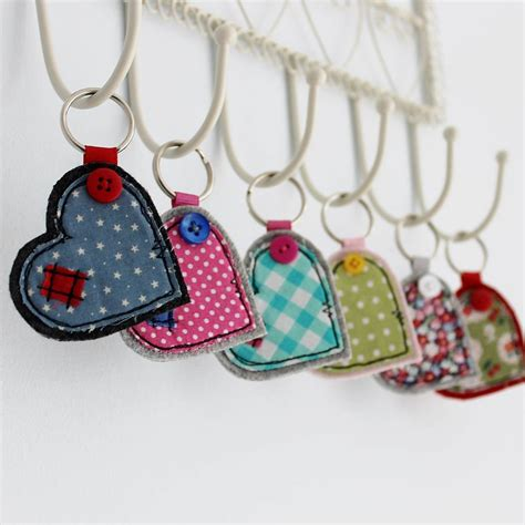 Handmade Fabric Keyrings - wide fabric key ring by honeypips
