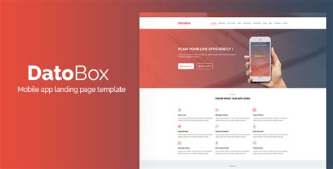 Datobox Mobile App Landing Page Template By Ghssalem Themeforest Mobile App Landing Page Template