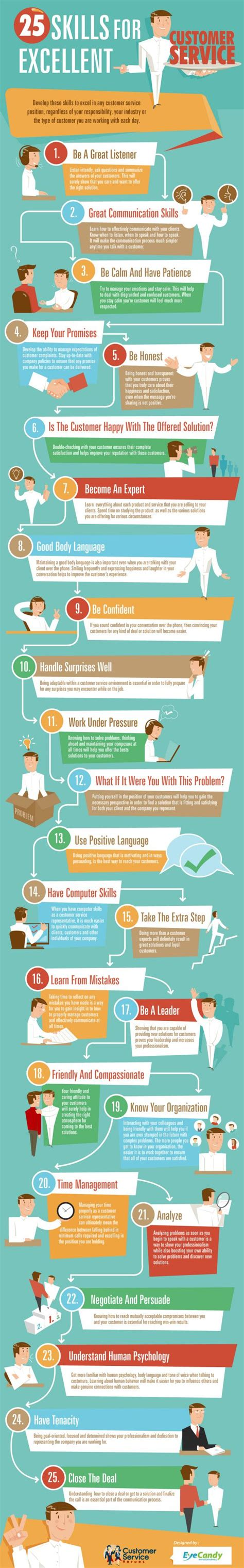 25 skills for excellent customer service customer service infograph