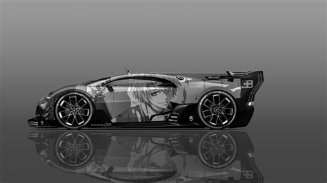 vision wallpaper black and white bugatti vision gt side anime boy aerography car 2016