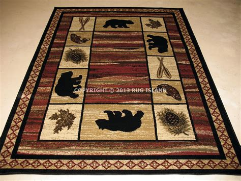 Cabin Area Rugs Lodge Cabin Rustic Pine Fish Area Rug Free Shipping Ebay
