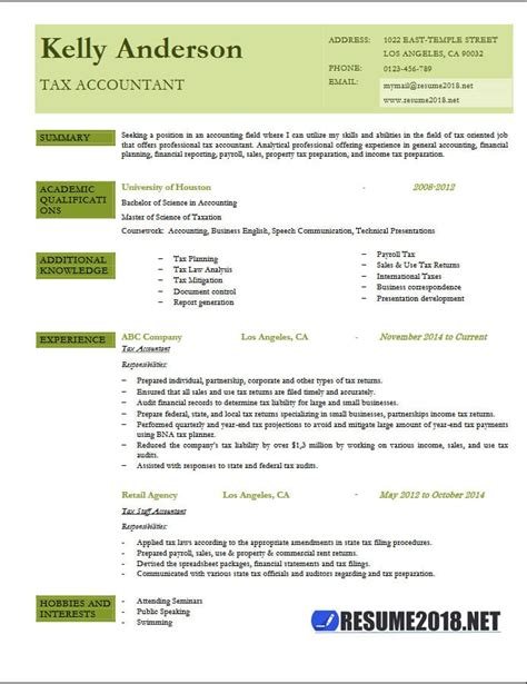 Resume Sample Internship by Tax Accountant Resume Example 2018 Resume 2018