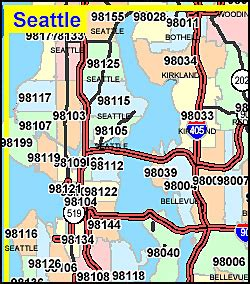 seattle map with zip codes washington zip map