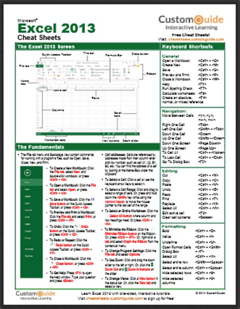 excel formula cheat sheet pdf excel 2013 cheat sheet