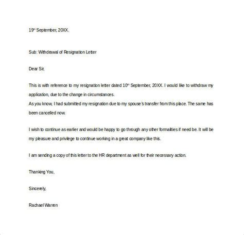 Acknowledgement Of Withdrawal Letter formal resignation letter 40 free documents in