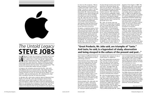 layout of an online article steve jobs article sean proakis design