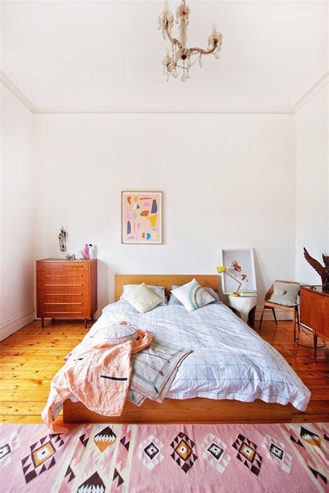 Pink Teenage Bedroom Ideas a bedroom with a soft pink kilim rug the style files