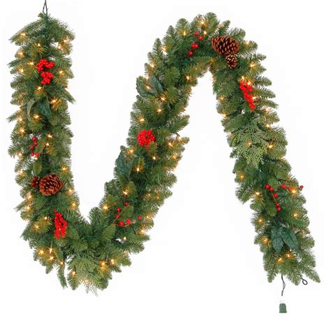 martha stewart string lights martha stewart living 9 ft pre lit winslow fir garland