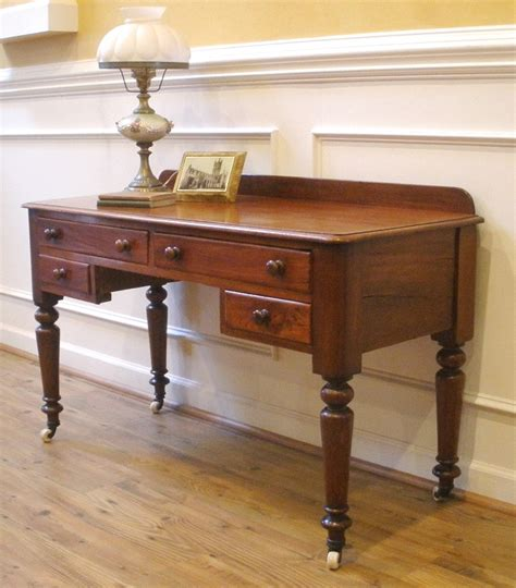 Antique Victorian English Mahogany Desk Sofa Table Sofa Table Desk