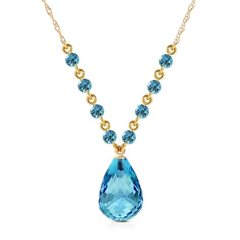 16 Necklace Gold Blue 11 5 ctw 14k solid gold all that glitters blue topaz