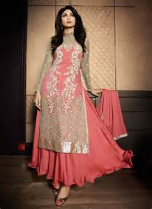 in suite designs shilpa shetty pink net designer salwar suit