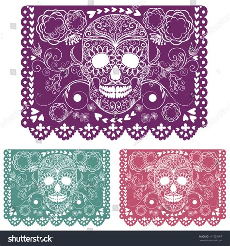 cadenas de papel picado day of the dead decoration papel picado stock vector