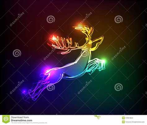 neon collection reindeer christmas background stock images image