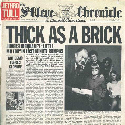 Thick Covers by Jethro Tull Thick As A Brick Reviews