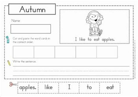 Cut And Paste Fall Worksheets by Pocket Charts Cut And Paste And Sentences On