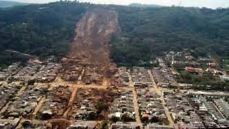 Landslide natural disaster aerial stock footage 21137458