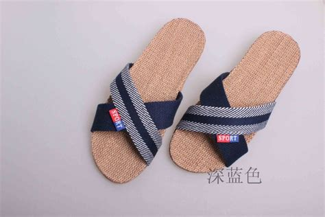 high quality slippers 2016 new home stripes cross flax slippers fashion