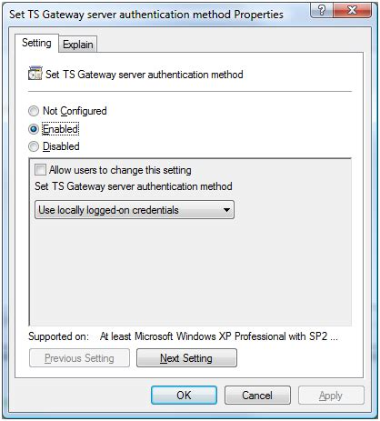 change terminal server how to enable single sign on for my terminal server