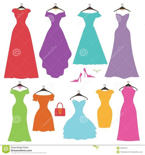 Silhouette Colorful Women's Dress Set.Flat Design Stock