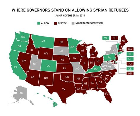 map of us states not accepting syrian refugees which states are saying no to syrian refugees pbs newshour