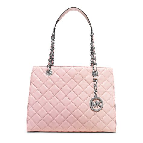Michael Kors Susannah Quilted Bag by Michael Kors Susannah Medium Quilted Leather Tote In Pink