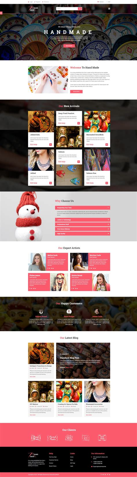templates for handicrafts website handicraft handmade product shop template by
