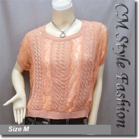 Patched Rib Knit Top fit lace patch knit cropped boho top pink