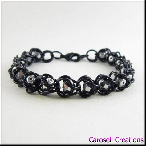 captured bead chainmaille captured bead chain maille bracelet anklet black by
